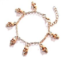 "7 GOLD SKULLS CHARM BRACELET chain goth punk scene emo for up to 7.5"" wrists R5"
