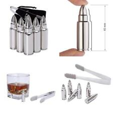 Whisky Stones Gift Set of 6, qoolivin Stainless Steel Bullet Shaped Scotch Rocks