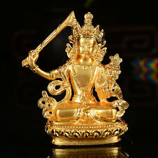 Tibet Tibetan Buddha Buddhist Buddhism  Gild Wen Shu  Manjusri Wit Car Statue