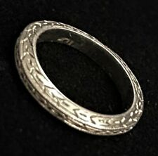 SWEET ANTIQUE ART DECO ESTATE SOLID 10K WHITE GOLD HAND CARVED BABY INFANT RING