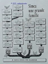 PUBLICITE VOITURE SIMCA GRANDE FAMILLE ARONDE VEDETTE ARIANE DE 1959 FRENCH AD