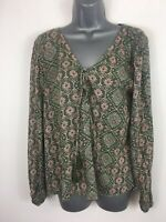 WOMENS HOLLISTER OLIVE GREEN PATTERNED LONG SLEEVE SMOCK STYLE TOP BLOUSE SIZE M