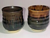 Vintage Set Pair 2 Art Pottery Cups Mugs Studio Made Brown See Pics Make Offer!