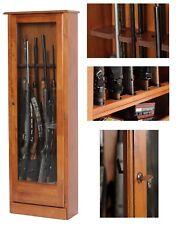 Gun Safe Cabinet 10 Rifles Wood Storage Locker Shotgun Firearm Lock Shelf  Rack