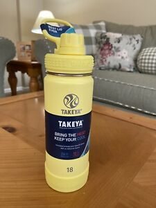 Takeya Actives Insulated Stainless Steel Water Bottle w/ Spout Lid, 18 oz Canary