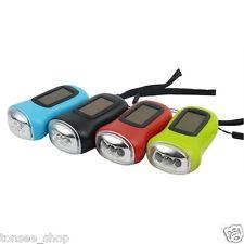 Tragbar Hand Kurbel Dynamo Solar Powered Taschenlampe Akku 3-LED Stablampe