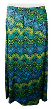 Womens Notations Skirt Size XL Extra Large Green Black Print Elastic Waist Long
