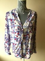 M&Co Womens Blouse Top Size 12 White Blue Pink Floral Plaid Long Sleeved V Neck