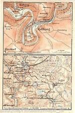 Antique map Kyllburg in der Waldeifel Mehren Germany karte 1910 am Rhein Malberg