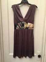 TED BAKER LONDON SLEEVELESS BROWN GRAY SHEATH DRESS SIZE 3