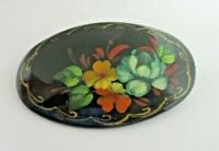 Oval Hand Painted BROOCH Floral Vintage Russian Black Lacquer Pin Signed