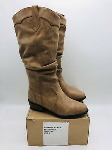 Journey + Crew Women's Slouchy Drover Wide-Calf Boots Chestnut US 7.5