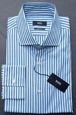 NWT HUGO BOSS MEN'S LONG SLEEVE REGULAR FIT BLUE STRIPED COTTON SHIRT 39 15.5