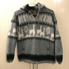 TEJIDOS RUMINAHUI Wool Tribal Aztec Alpaca Print Zip Up Sweater Jacket- Small