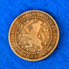 1881 Netherlands 1 Cent - Great Old Coin - See PICS