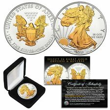 2019 American U.S. Silver Eagle 1 oz Coin 2-Sided Select 24Kt Gold Gilded w/Box