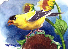 ACEO Limited Edition- A fading summer, Bird art print, Goldfinch