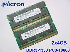8GB 2x 4GB DDR3 1333 PC3-10600S 1333 Mhz 1066 MICRON LAPTOP RAM MEMORY SO DIMM