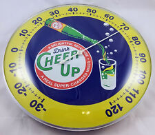 DRINK CHEER UP SODA POP BOTTLE POURING ROUND DOME SHAPE ADVERTISING THERMOMETER