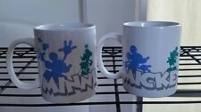 SET OF 2 DISNEY MICKEY & MINNIE MOUSE WHITE MUGS CUPS HANDLE SILHOUETTE NEW LOVE