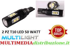 COPPIA LAMPADE LED T10 W5W CANBUS 50W  12-24V  10 LED CREE 680 LUMEN