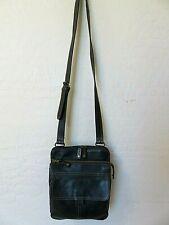 Vintage Fossil Cross Body Handbag Black Leather Organizer Messenger Bag