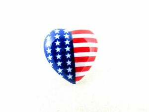 23mm USA HEART BUTTONS with SHANK - STAR SPANGLED BANNER HEART BUTTONS