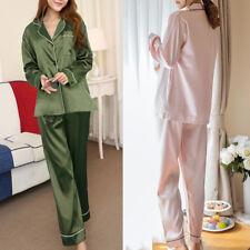 Women Silk Satin Pajama s Long Sleeve Sleepwear Homewear Nightwear Robe!