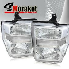 For 08-10 Ford F250/F350 Super Duty 1 Piece Chrome Headlights Clear Reflector