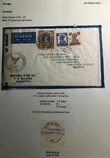 1947 Calcutta India US Civil Censorship Airmail Cover To Berlin Germany