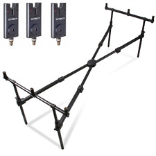 NGT Carp Fishing Cross Rod Pod & 3 Saber Electronic Bite Alarms with Case MK2