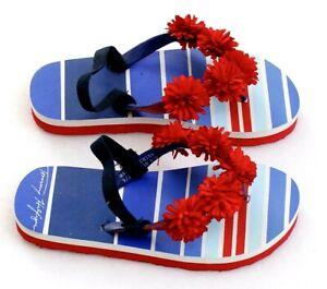Tommy Hilfiger Lil Sunset Red White Blue Thong Sandals Flip Flops Toddler 9-10