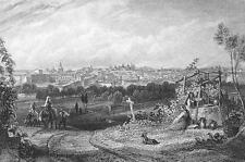 SPAIN View of Madrid - 1833 Antique Print Engraving