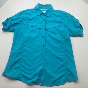 Worldwide Sportsman Adult Button Up Shirt XL Teal Vented Fishing Womens U200