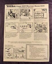 TONKA  POWER SHIFT  MOUNTAIN MASTER  4220  INSTRUCTIONS ONLY  C. 1981