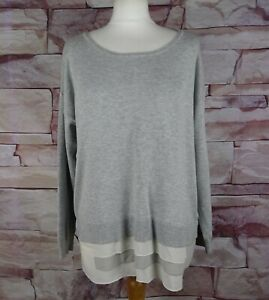 MINT VELVET grey jumper silk trim size 16