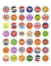 Vintage/ Retro Soda Pop Themed PRINTABLE Bottle Cap Images~  42 Diff. Designs