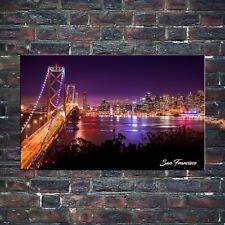 Foto quadro Stampa Su Tela San Francisco By Night Artistic Framework 70X40 CM