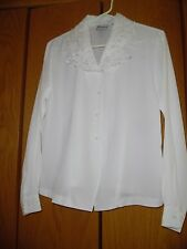 JOANNA (S) Blouse Button Front White Embroidered Cut Out Top Shirt Blouse