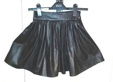 H&B BLACK Faux Leather PU Skater Pleated MINI SKIRT Size S Waist w22ins w56cms