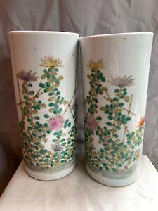 Pair Of Antique Chinese Export Famille Rose Porcelain Ceramic Hatstand Vase