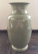 Vase Chinois Ancien Céladon Porcelaine De Chine Chinoise Fleurs Début XXe