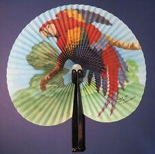 "Vintage 10"" Chinese Hand Fan - Parott Design  00004000 - by K & M International"