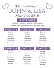Wedding Table Plan A1 box canvas custom any colours Seating sign bespoke