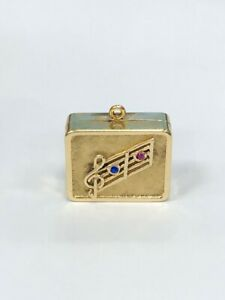 Vintage 14K Yellow Gold Music Box Charm with Ruby & Sapphire