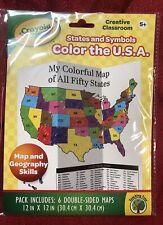 6pk Crayola Creative Classroom Color the Usa states and Symbols Maps homeschool