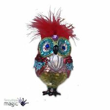 Gisela Graham Christmas Glass Owl Bird Tree Bauble Ornament Decoration 12cm New