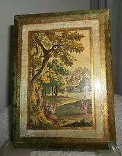 vtg ITALY FLORENTINE  WALL PLAQUE women castles trees SCENE gold gilt