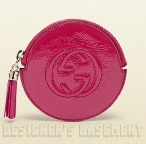 GUCCI fuchsia Patent Leather SOHO Interlocking G zip pouch COIN Purse NIB Authen