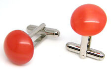 RUBY RED MOONSTONE GENTS MENS LADIES OR FOR WEDDING CUFFLINKS IN POUCH